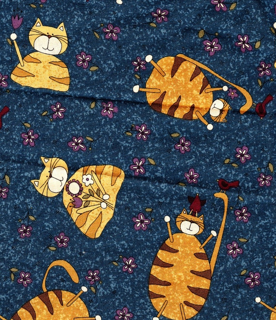 FAT CATS Retired Cat Fabric Kitties Fat Cats Knitting Cats or Hockey Stick Kittens FQ