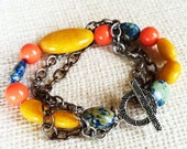 Colorful Earth Tones, Multi-strand Beaded Bracelet with Pearl, Chrysocolla, and Jasper with  Chain