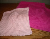 Pink Ribbon Cotton Dish Cloths