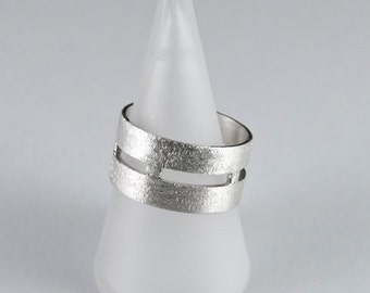 Two sides silver ring 12mm