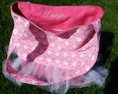 Personalized Ballet Tutu Tote - Hot Pink with flowers and Tutu -  Inside Pocket