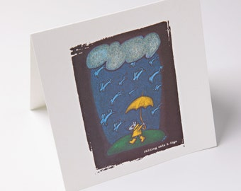 embossed greeting card - raining cats & dogs
