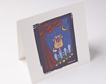 embossed greeting card - singing cat