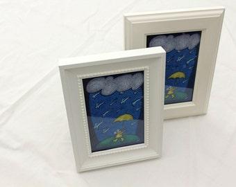 mini framed canvas - raining cats & dogs