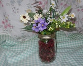 SPRING FLOWERS in canning jar vase and potpourri