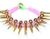 Gold Spiked Neon Pink Colored Cobra Bracelet
