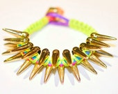 Gold Spiked Neon Yellow Colored Cobra Bracelet