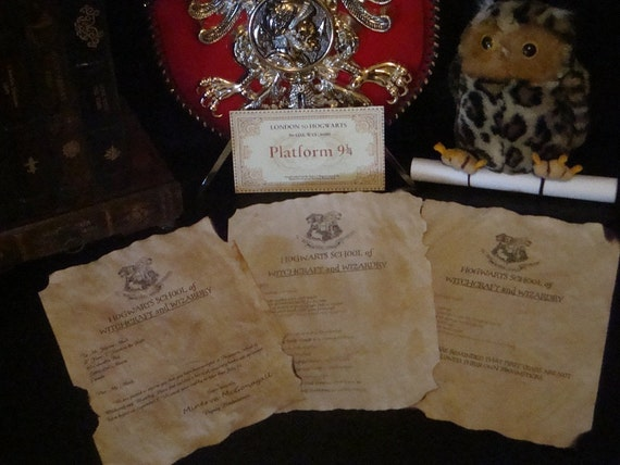 Customizable Harry Potter Acceptance Letter with Hogwarts Express Ticket