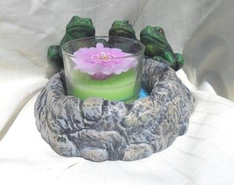 Ceramic Three Frogs Sitting on a Pond Candle Holder, hand painted, indoor or outdoor, lawn or garden