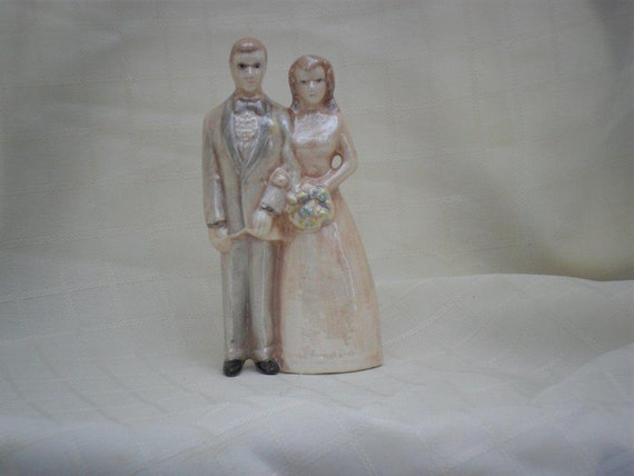 Personalized Ceramic Wedding Cake Topper - 4 3/4 inches -hand made, bride and groom
