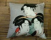 GEISHA WOODBLOCK furoshiki cushion pillow in 100% cotton and linen. Japanese woodblock print 50x50cm, 20x20ins.