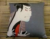 Japanese samurai kabuki actor graphic print, cushion pillow in cotton furoshiki wrapping cloth. Japanese woodblock print 50x50cm, 20x20ins.