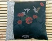 BIRDS & BAMBOO Vintage KIMONO silk cushion pillow, two unique Japanese kimono fabrics used. 40x40cm, 16x16in. One of a kind, all silk.