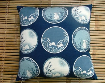 "Cushion pillow in vintage Japanese cotton, ""Rabbit and the Moon"" furoshiki pattern in indigo blue and white. 50cm or 20in square."