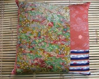 Vintage kimono silk cushion - handmade using bingata, shibori and meisen silk textiles in patchwork 50cm or 20in square.