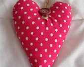 Fabric Heart Fuschia and White Polka Dot with Vintage Button