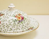 Vintage Flower pattern Butter Dish made in England