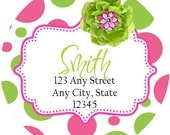 Pink Lime Polka Dot Round Labels Stickers for Party Favors, Gift Tags, Address Labels, Preppy Labels, Children