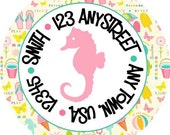 Preppy Beachy Seahorse Round Labels Stickers for Party Favors, Gift Tags, Address Labels, Preppy Labels, Children
