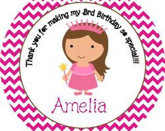 Birthday Princess Girl Chevron Round Labels Stickers for Party Favors, Gift Tags, Address Labels