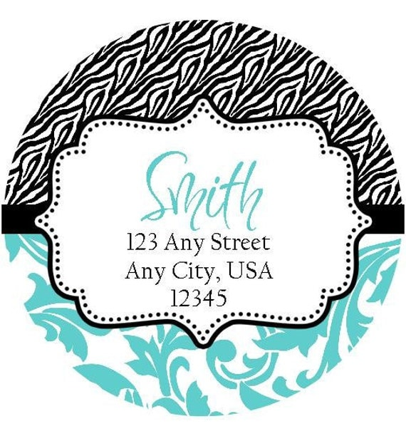 Zebra Aqua Damask Round Labels Stickers for Party Favors, Gift Tags, Address Labels, Preppy Labels, Children