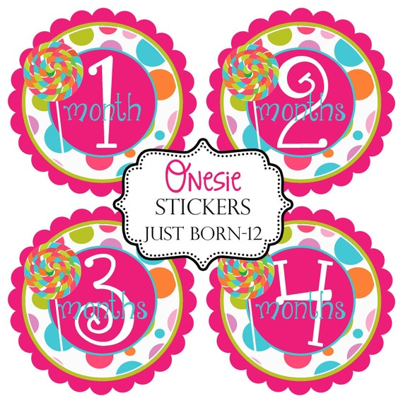 Hot Pink Lollipop Candy Girls Monthly Baby Onesie Stickers Make Great Baby Shower Gifts..Bonus Just Born Sticker Included