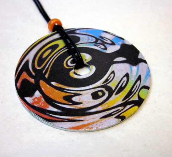 Washer Necklace Groovy Gal Rainbow Tribal Design