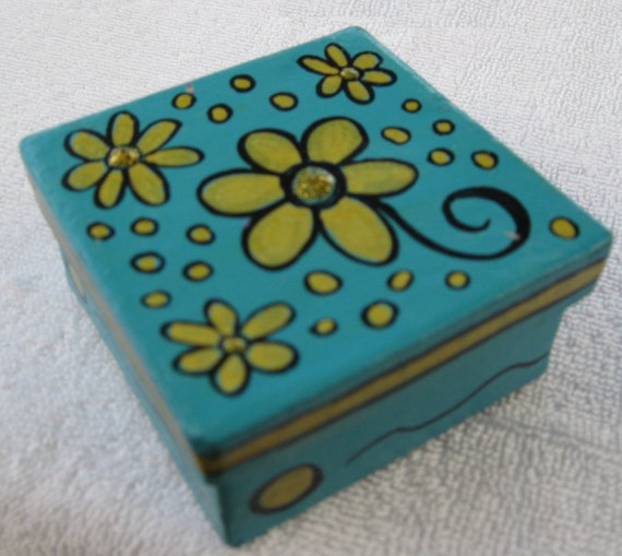 Small Square Keepsake, Jewelry Box or Gift Box Turquoise with Gold Flowers