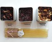Summer Time  Loose Tea Sampler 3ct Hibiscus-Cranberry Orange-Crimson Berry- All Caffeine Free