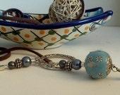 Handmade Blue Turquoise Lariat Necklace