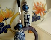 Handmade Vintage Blue Pearl & Ceramic Lariat Necklace