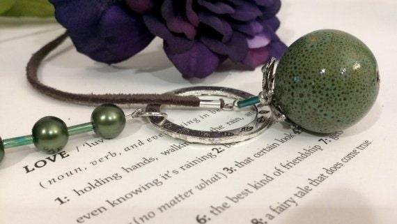 Handmade Fruity Green Ceramic & Pearls Lariat Necklace