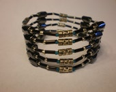 Silver and Fogged Blue Magnetic Hematite Wrap