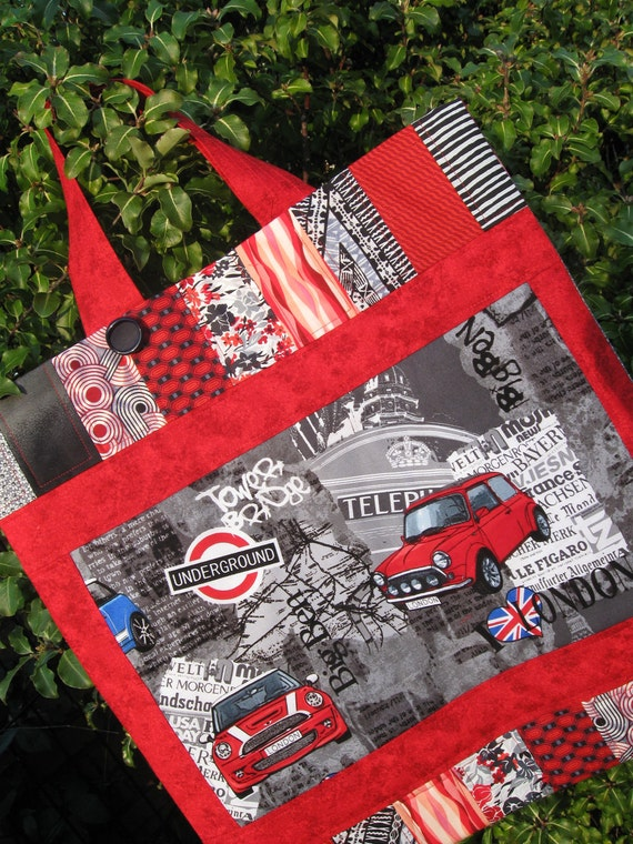 I Love London - Red Patchwork Quilted Tote Bag