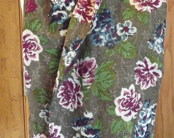 Blue And Burgundy Floral Famous Maker Echo Rayon Scarf