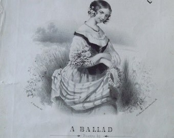 """Antique Piano And Vocal Sheet Music """"Saucy Kate"""" Dated 1849"""