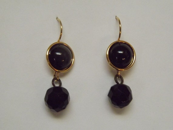 Victorian Reproduction Civil War Era Mourning Jewelry Earrings With Vintage Buttons