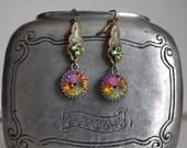 Earrings, Pink, Purple, Green, Swarovski Crystal Rivoli, Vintage Brass Leaf, Green Crystal, Leaf, Leaves, Jewelry