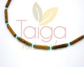 Natural Hazelwood Necklace - Green/White