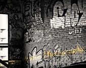 Wall of Graffiti - black and white photography- spray paint- tagging- dark- industrial- art- street photography- 8 x 10 Print