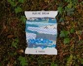Marine Dream Fabric Ribbon - 4 Yards - Handmade Upcycled Scrap Ribbon or Garland - Vintage Fabric - Aqua Blue Floral - Giftwrap Party Decor