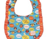Baby Bib Boy or Girl Dining with Owls