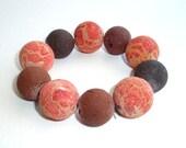 Handmade bracelet / Orange and brown sponge coral stones