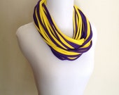 Upcycled Double Deluxe Chunky Jersey Infinity Tee Shirt Scarf Cowl Necklace.  Purple and gold-yellow. UW Husky colors