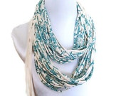 DELUXE Infinity Scarf Multi Strand Neckalce Custom Screen Printed pattern on Organic Cotton