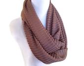 Mauve Chevron Braided Knit Infinity Scarf. Cowl Scarf.