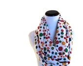 Polka Dot and Cream Infinity Scarf. Long looped cowl scarf necklace