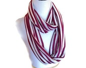 Extra Long Plum and Off White Nautical Stripes Infinity Scarf. Soft Jersery Infinity Scarf
