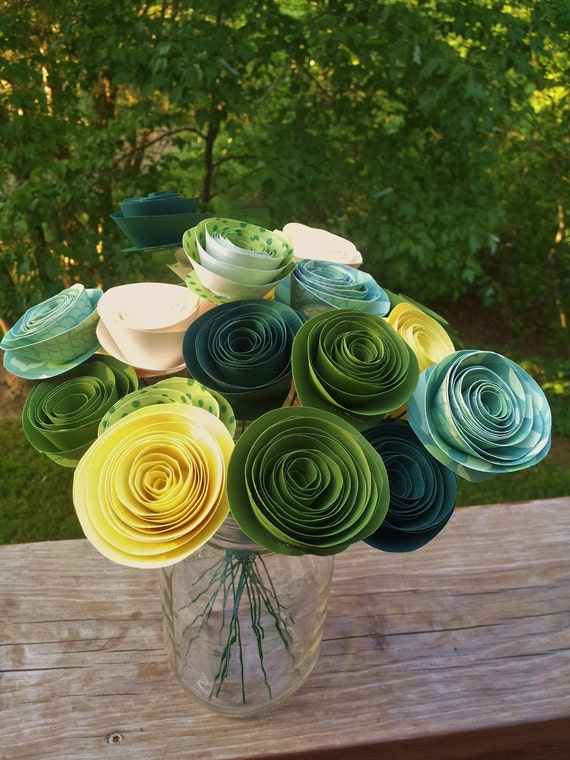 Green and Yellow Handmade Rolled Paper Flower Bouquet