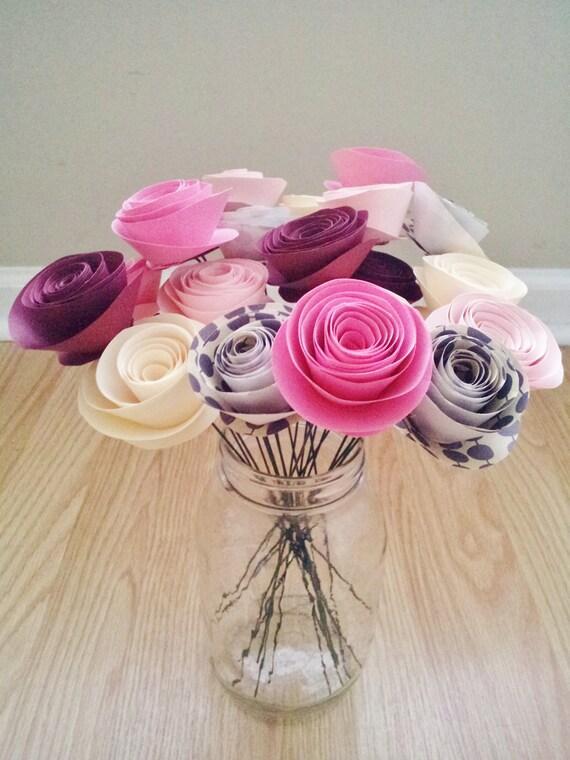Pink Handmade Rolled Paper Flower Bouquet